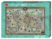 He29871 Retro World Map Art Rajko Zigic